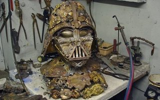 Darth Vader Helmet Made of Scrap  | Born in Nice, France, the artist Bellino Allen created this amazing Darth Vader mask from scrap metal. For decades, Bellino, manages the family business, which he inherited from his father, art studio under the name «Rodolphe Bellino». Masters of the stud