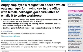 Angry employee's resignation speech which outs manager for having sex in the office with female colleague goes viral after he emails it to entire workforce | http://tinyurl.com/9rknmdj